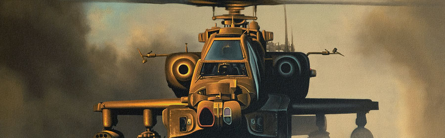 AAC Apache helicopter painting by Neil Hipkiss aviation artist