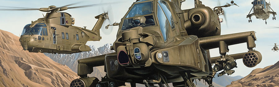 apache helicopter aviation art painting and print by Neil Hipkiss Aviation Artist
