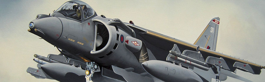 Harrier detail from oil painting header by Neil Hipkiss Aviation Artist