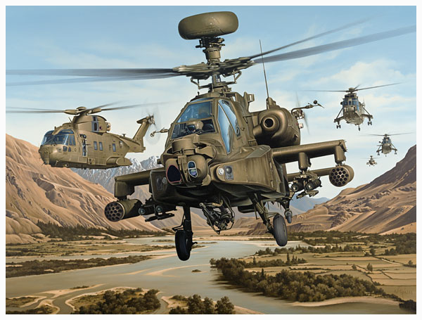 apache helicopter AAC, RAF Merlin, RN Sea King helicopters of Joint Helicopter Command by Neil Hipkiss Aviation Artist