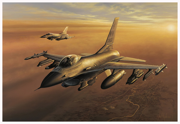 F16 Fighting Samurai Painting Commission by Avaition Artist Neil Hipkiss