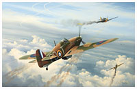 hawker hurricane vs me109 battle of britain aviation art print by neil hipkiss