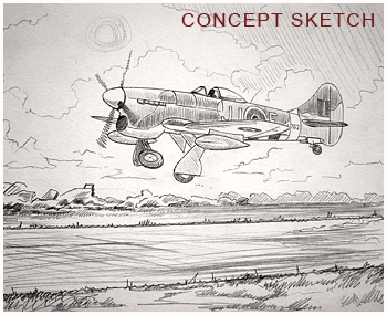 Hawker Tempest - concept sketch by Neil Hipkiss