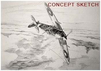 Concept sketch - of Spitfire in sunset painting