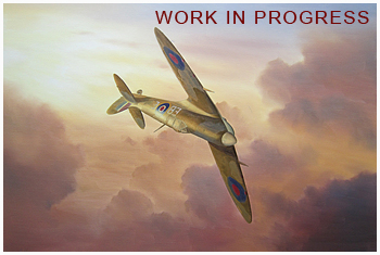 Work in progress Part 2 of Spitfire in sunset painting