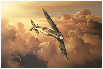 Spitfire in Sunset - Oil Painting by Neil Hipkiss